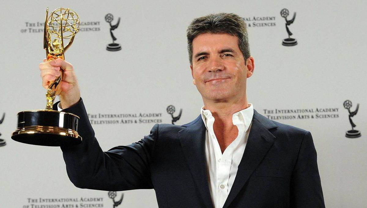 Winner of the Founders award Simon Cowell poses in the press room during the 38th International Emmy Awards at the New York Hilton and Towers on November 22, 2010 in New York City.