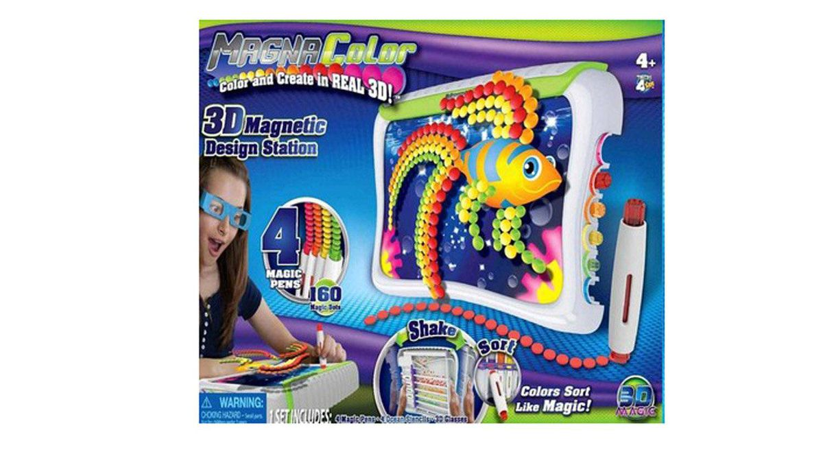 3D Magic Magna Color Kids raised with 3D movies should find this art set pretty nifty. A special pen lets them create images that pop off the screen. Ta-dah! No more boring 2D drawings. $24.99-$29.99, 3-Dmagic.com