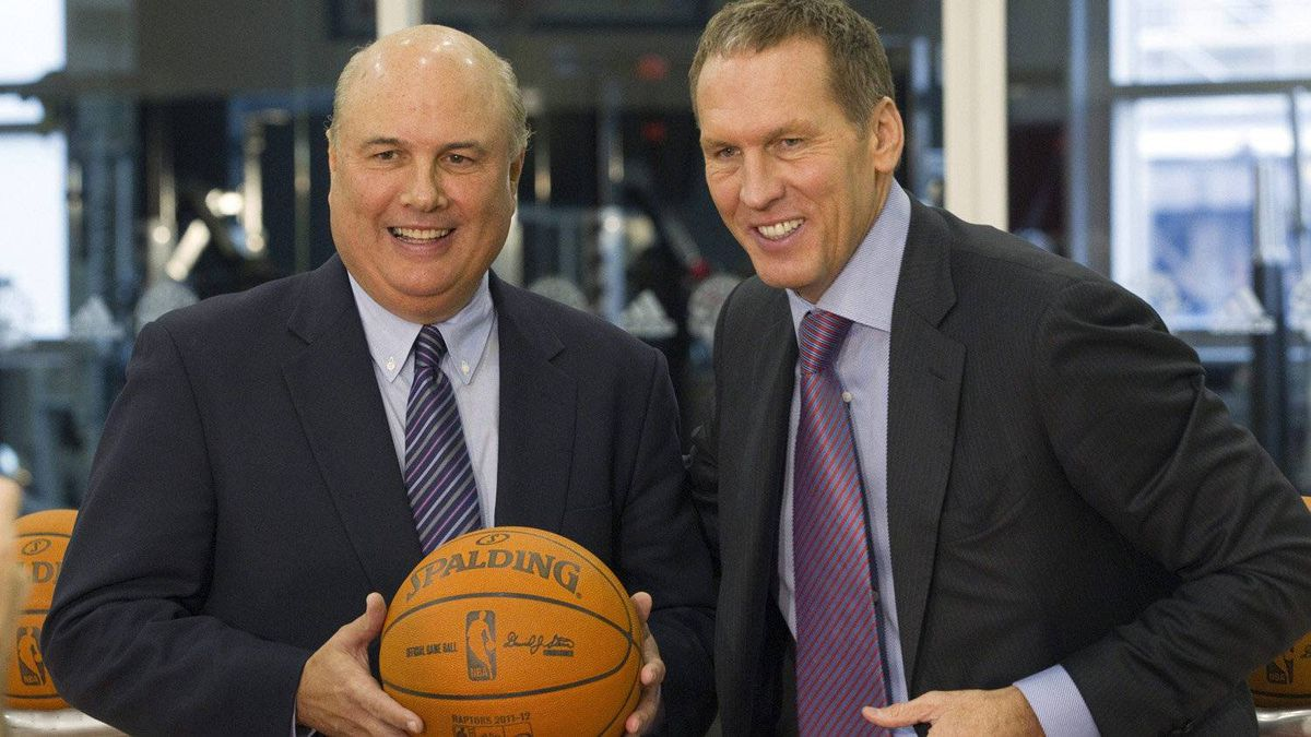 Toronto Raptors new vice-president of basketball operations Ed Stefanski (left) poses with GM Bryan Colangelo following a news conference in Toronto.