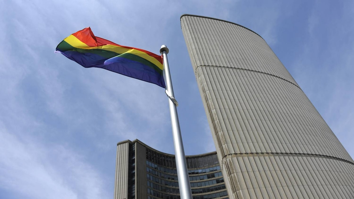 The Pride flag is raised at Nathan Philip Square in Toronto in this undated file photo.