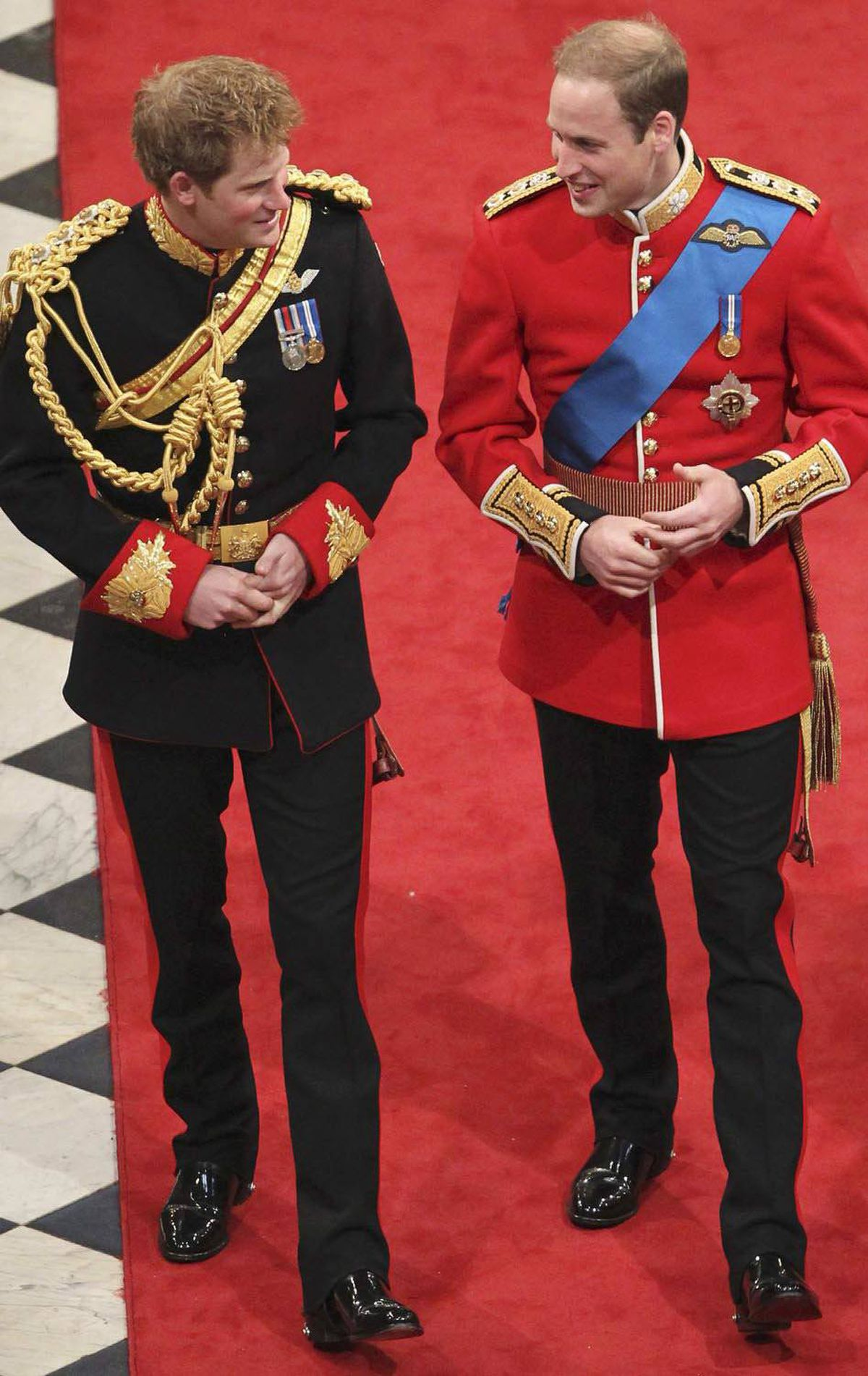 BROTHER Britain's Princes William and Harry arrive for William's wedding to Kate Middleton at Westminster Abbey in London, April 29, 2011.