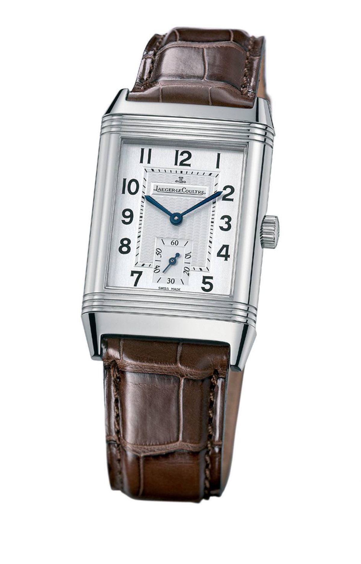 Reverso Grande Taille watch in stainless steel with alligator strap by Jaeger LeCoultre, $7,150 at Birks (www.birks.com)