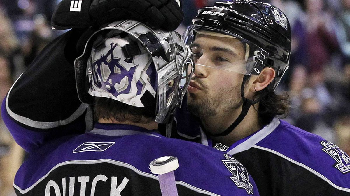 Los Angeles Kings' Drew Doughty, right, congratulates goaltender Jonathan Quick with a kiss after the Kings defeated the Colorado Avalanche 4-1 in an NHL hockey game in Los Angeles on Saturday, March 26, 2011. (AP Photo/Danny Moloshok)