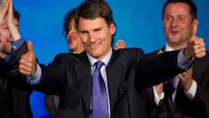 Vancouver Mayor Gregor Robertson celebrates after he was re-elected in a civic election in Vancouver, B.C., on Saturday November 19, 2011.