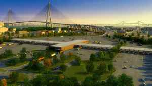 An artist rendering of the Detroit River International Crossing project