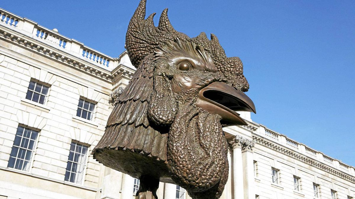 """Rooster"", part of a series by Chinese artist and activist Ai Weiwei entitled ""Circle of Animals/Zodiac Heads"" on display at Somerset House in London."