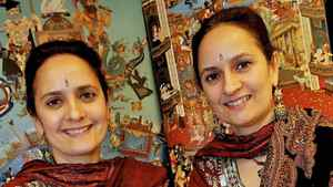 The Singh Twins, artists who have painted an image for the Royal Ontario Museum.