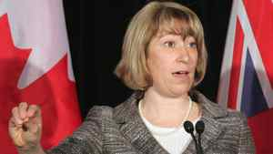 Ontario Education Minister Laurel Broten addresses a news conference in Toronto, Monday, April 9, 2012.