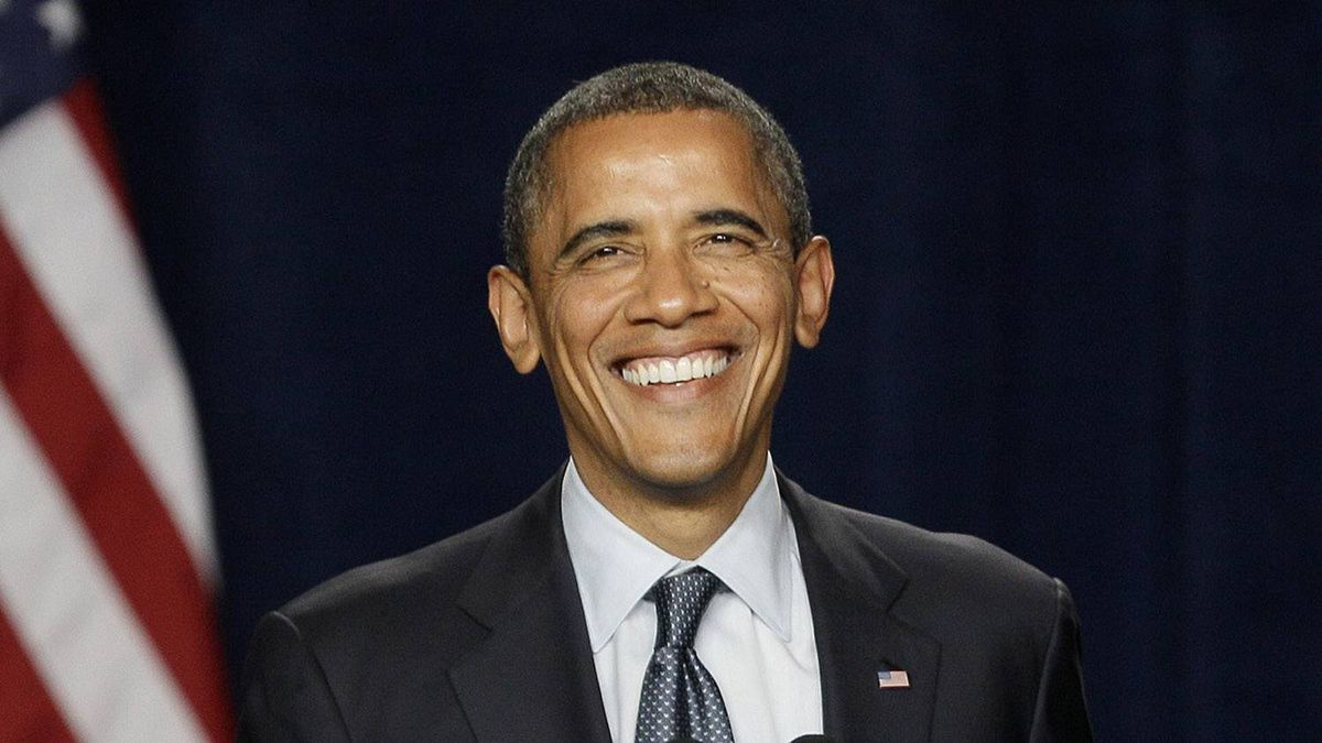 President Barack Obama smiles while speaking at the Fox Theater in Redwood City, Calif., Wednesday, May 23, 2012.
