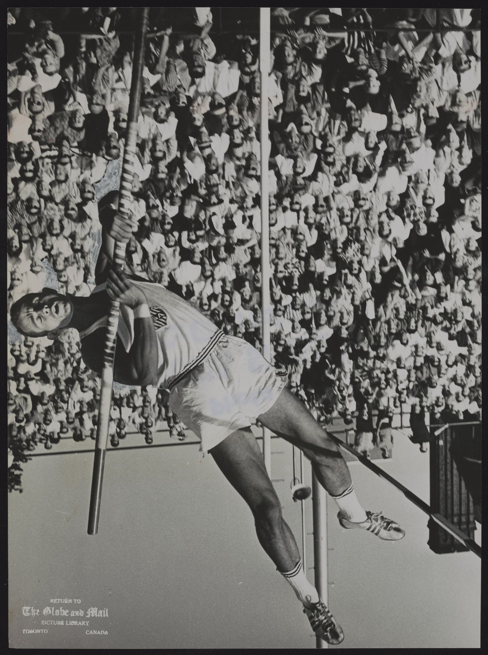 John UELSES Athlete John Uelses, former world record holder, heads skyward toward Canadian open pose voulting mark at International Games with vault of15 feet, 11 3/4 inches. Varsity Stadium's pole vaulting pit turned into a foamed rubber playground last night ofter conclusion of event.