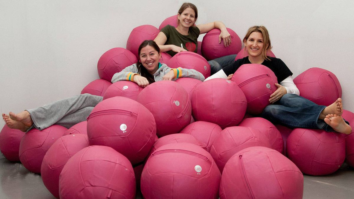 Ugi Fitness Inc. co-founders, from left, Sara Shears, Debra Karby and Melane Finkleman, and Ugi balls.