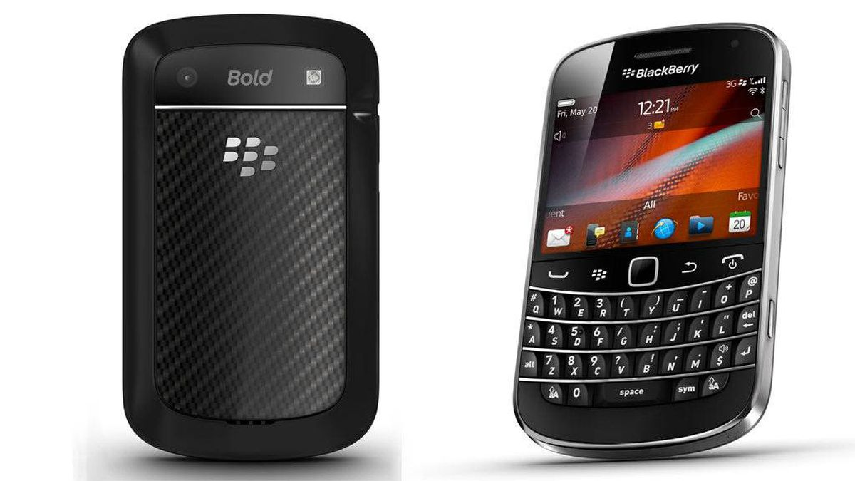 This is the BlackBerry Bold 9900 smart phone. This image has been altered to display the front and back of the phone.