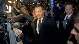 Ontary Progressive Conservative Leader Tim Hudak greets supporters at his election night headquarters in Niagara Falls on Oct. 6, 2011.