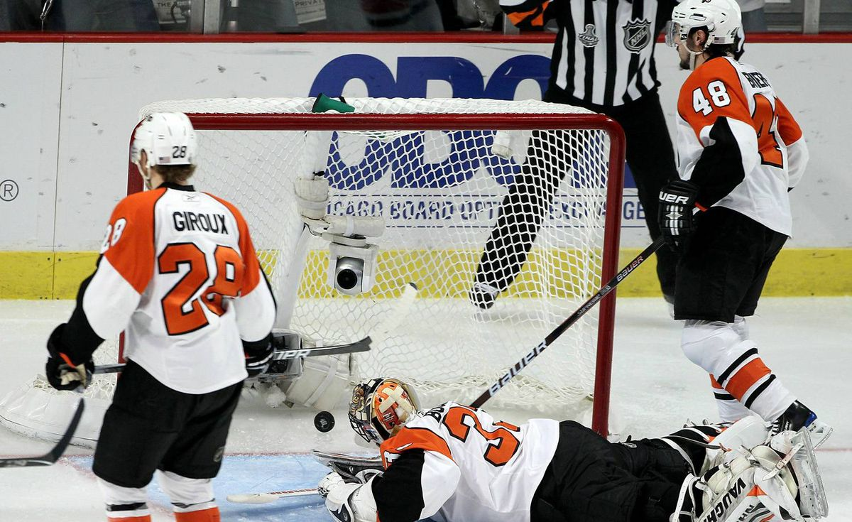 Brian Boucher #33 of the Philadelphia Flyers lets in a goal scored by Patrick Kane #88 of the Chicago Blackhawks (not pictured) in the second period of Game Five of the 2010 NHL Stanley Cup Final at the United Center on June 6, 2010 in Chicago, Illinois. (Photo by Andre Ringuette/Getty Images)
