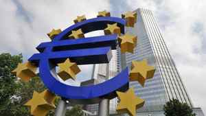 A huge symbol of the Euro stands in front of the headquarters of the ECB at the European Central Bank.