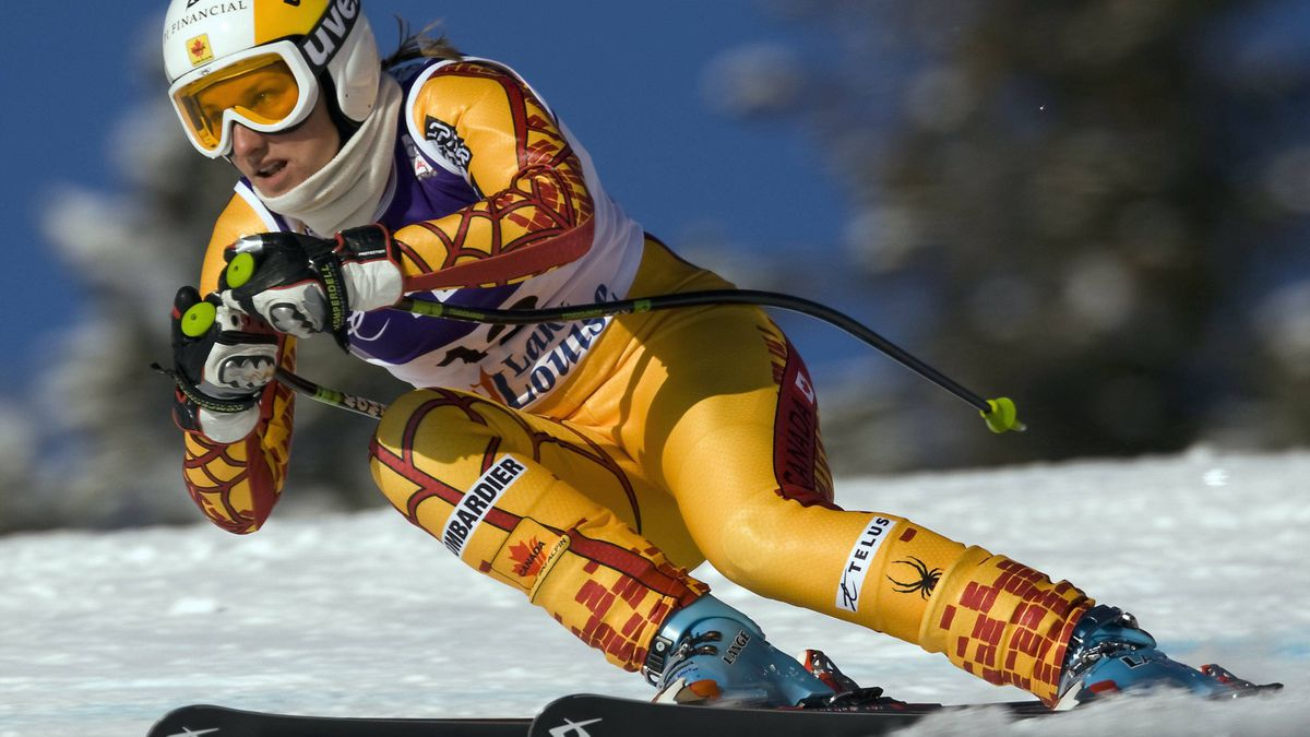 Britt Janyk races down the course in a training run in Lake Louise.