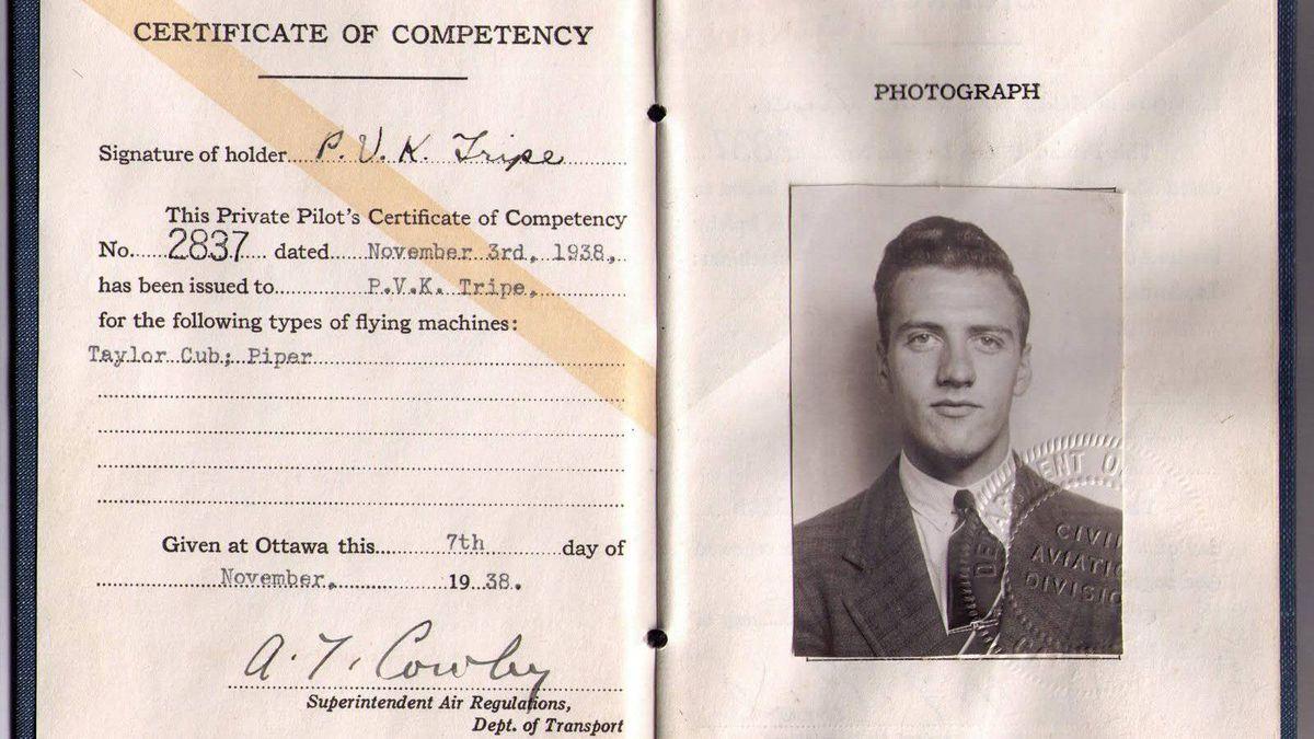 Philip Tripe's pilot's certificate, November 1938.
