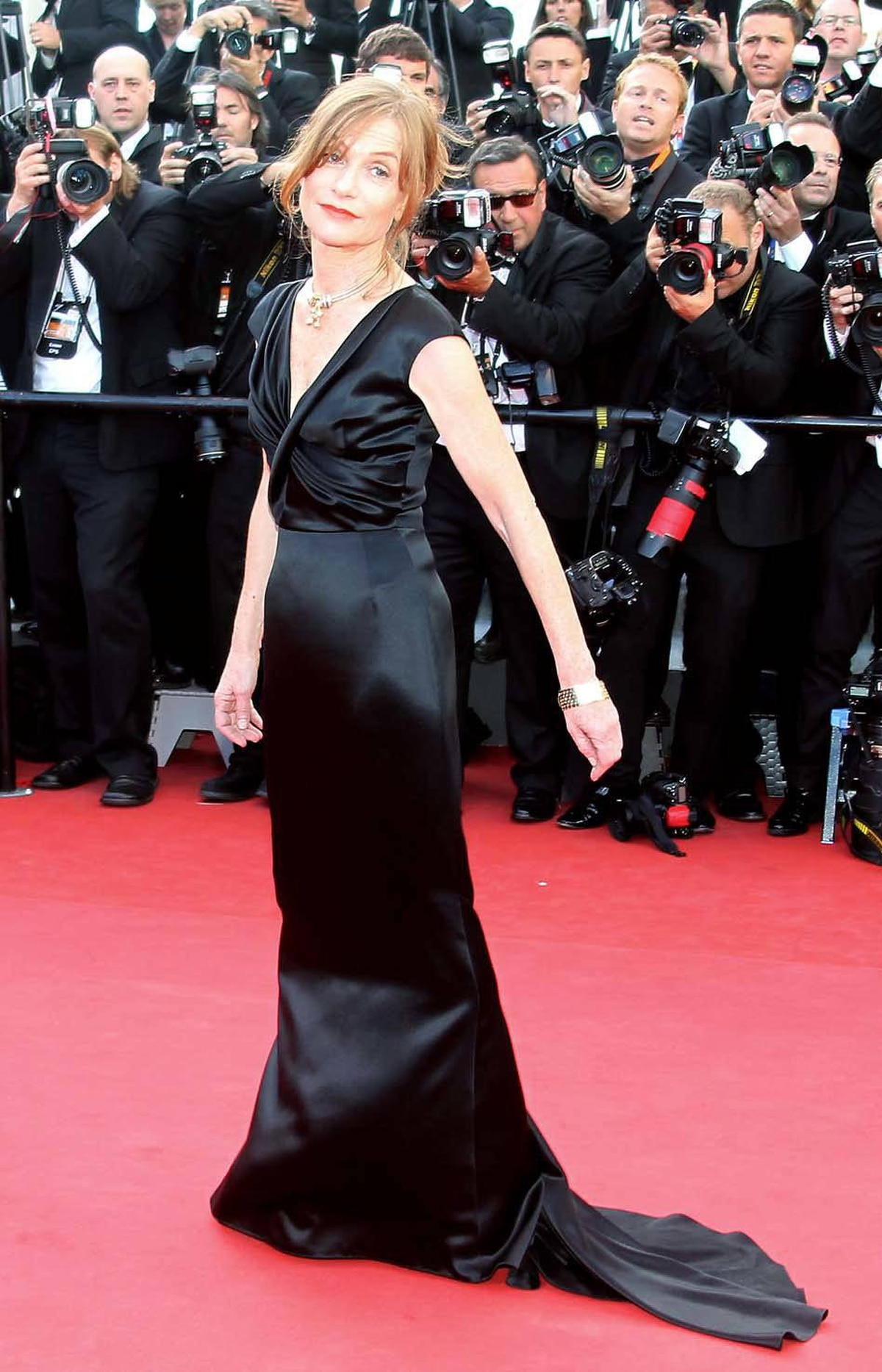 """French actress for the ages Isabelle Huppert at the """"The Tree of Life"""" premiere at the Cannes Film Festival on Monday."""