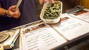 A dealer displays a container of cannabis at Sheeba, a coffeeshop, in Amsterdam, March 16, 2012.