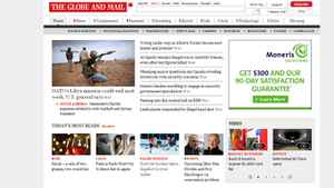 Screenshot of The Globe and Mail homepage.