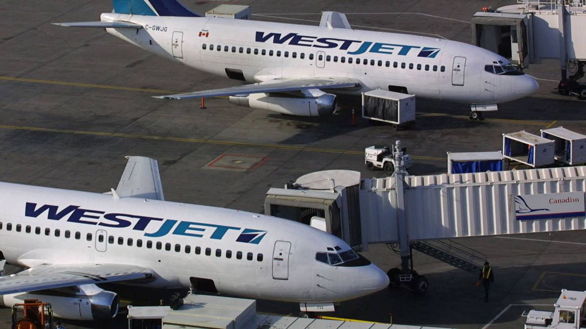 Two WestJet planes sit on the tarmac at the Calgary Airport on Aug. 24, 2001.