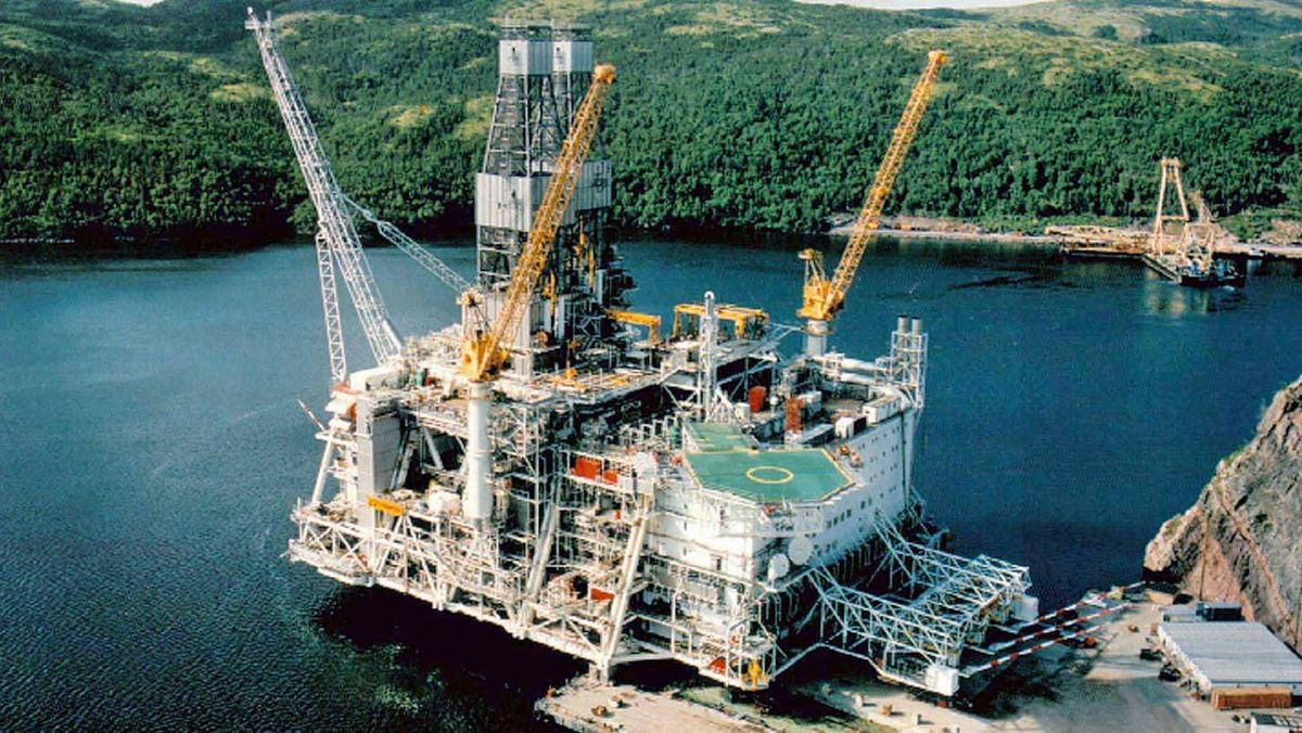 An aerial view shows the upper half of the Hibernia offshore oil platform sitting in the harbor at Bull Arm, northwest of St. John's, Newfoundland, in a file photo from August, 1996. Quebec and Newfoundland are facing another energy dispute over an oil field in the Gulf of St. Lawrence.