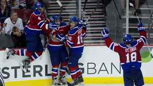 Edmonton celebrates their second goal in the second period scored by Stephane Legault (7) to give the Oil Kings a 4-2 lead going into the final period in game 4 of the Western Hockey League Championship playoffs at the Rose Garden, Tuesday May 8, 2012.
