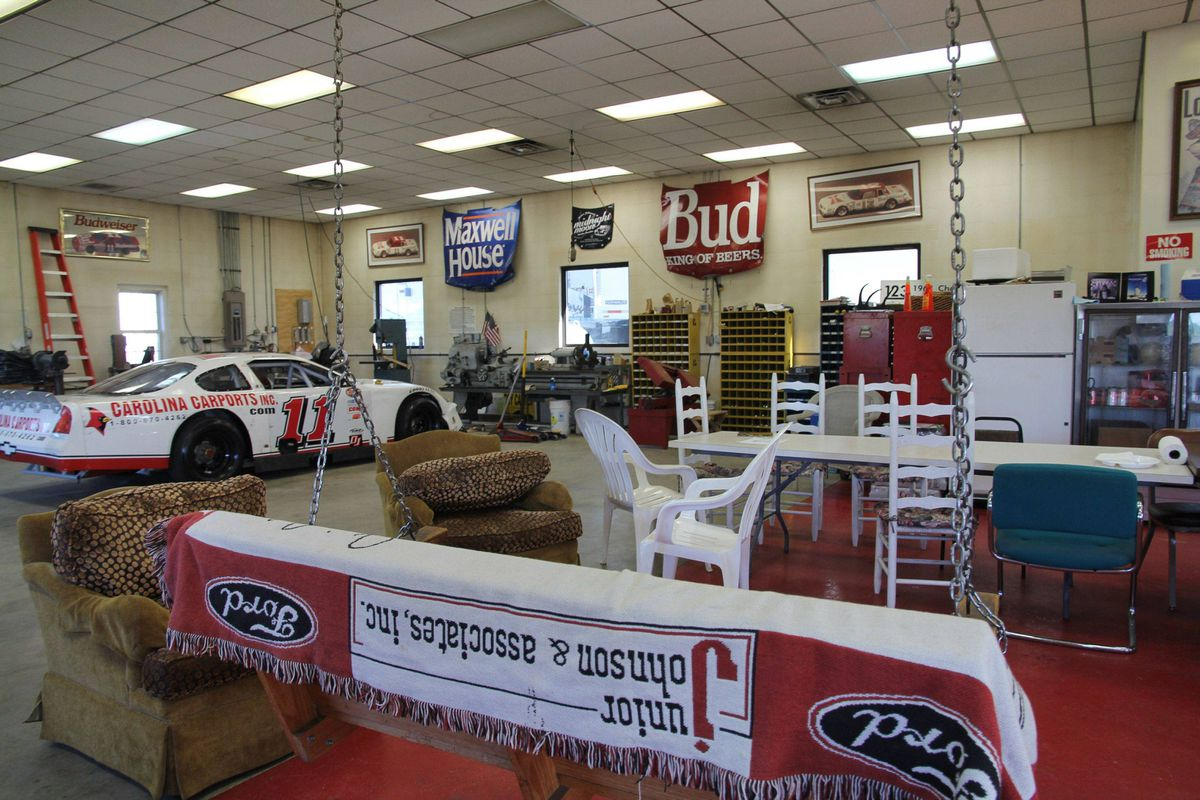 Junior Johnson's garage in North Wilkesboro, North Carolina. Johnson uses the garage as a combination workshop and social center. He serves a traditional southern breakfast for old friends in the garage every week.