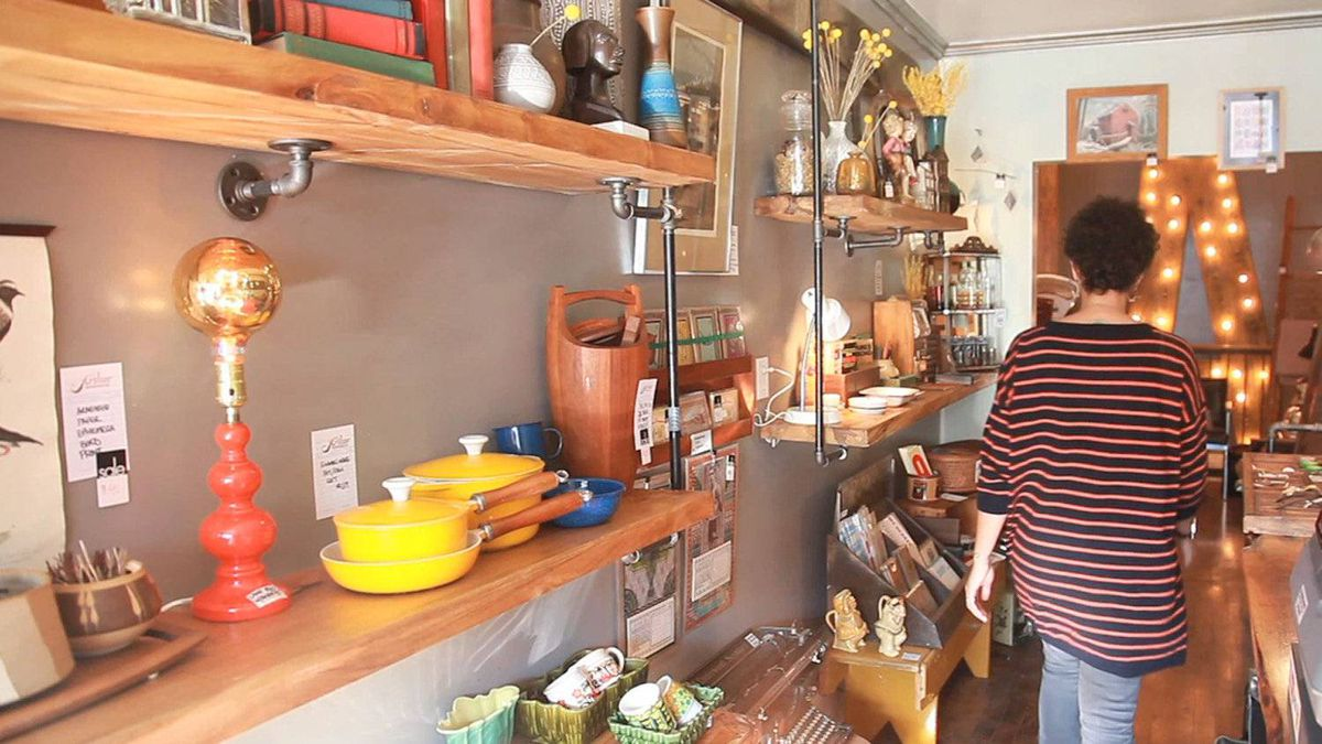 Liz Ikiriko in her vintage decor store the Arthur