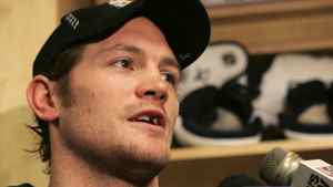 Matt Cooke speaks with reporters after a practice in Arlington, Va., Monday, April 7, 2008. The Penguins winger is currently in the middle of a league-wide controversy concerning a hit on Boston's Marc Savard. (AP Photo/Lawrence Jackson)
