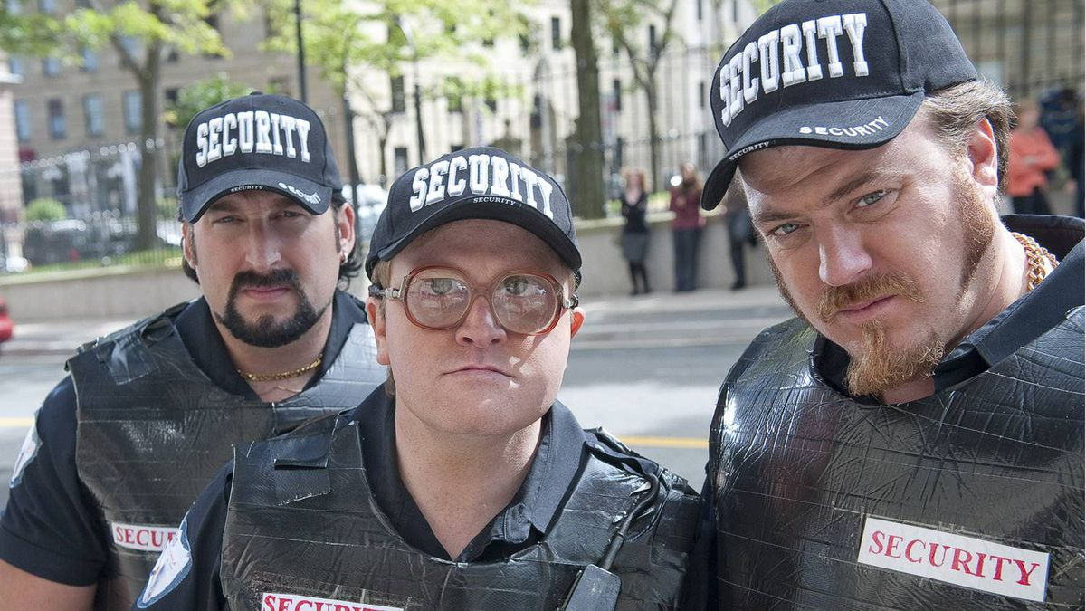 A promotional photo for TRAILER PARK BOYS COUNTDOWN TO LIQUOR DAY shows John Paul Tremblay (left), Mike Smith (centre) and Robb Wells in the Mike Clattenburg directed film.