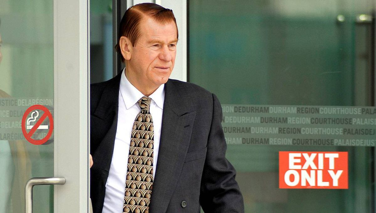 Royal Group's Vic De Zen leaves court in Oshawa, April 21, 2010.
