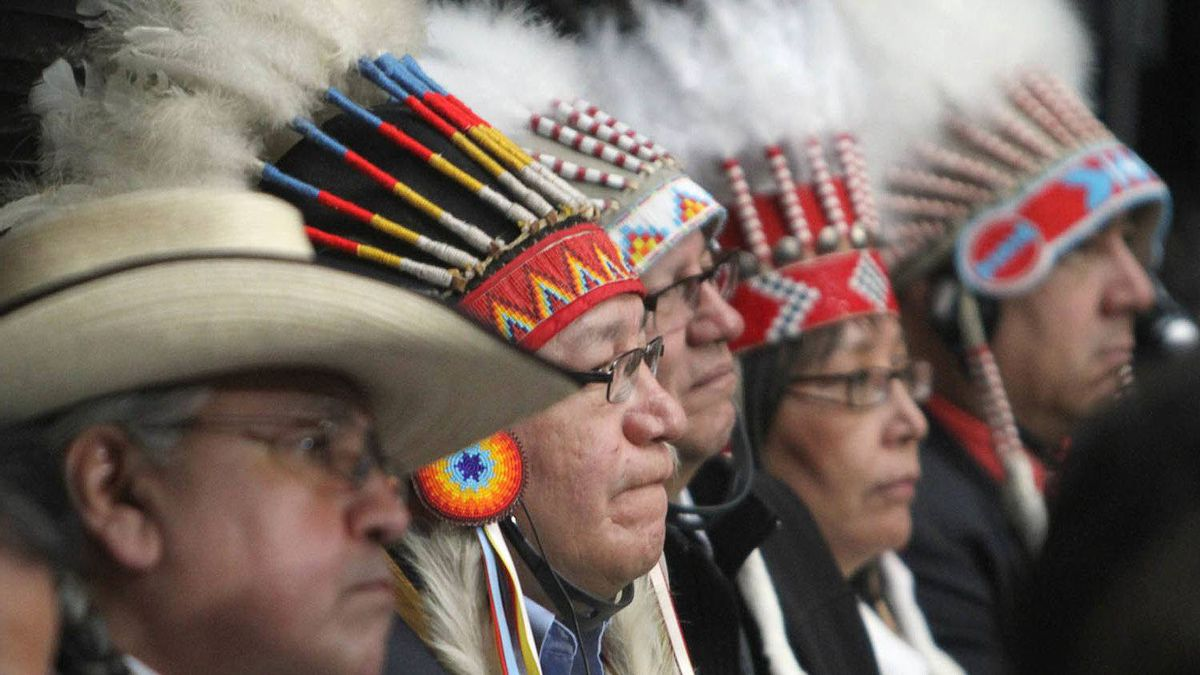 First Nations chiefs listen to speeches during the Crown-First Nations gathering in Ottawa on Jan. 24.