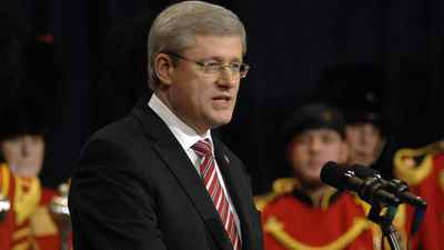 Prime Minister Stephen Harper makes remarks at the opening of the new Burlington Performing Arts Centre in downtown Burlington, Ont., on Dec. 2, 2011.