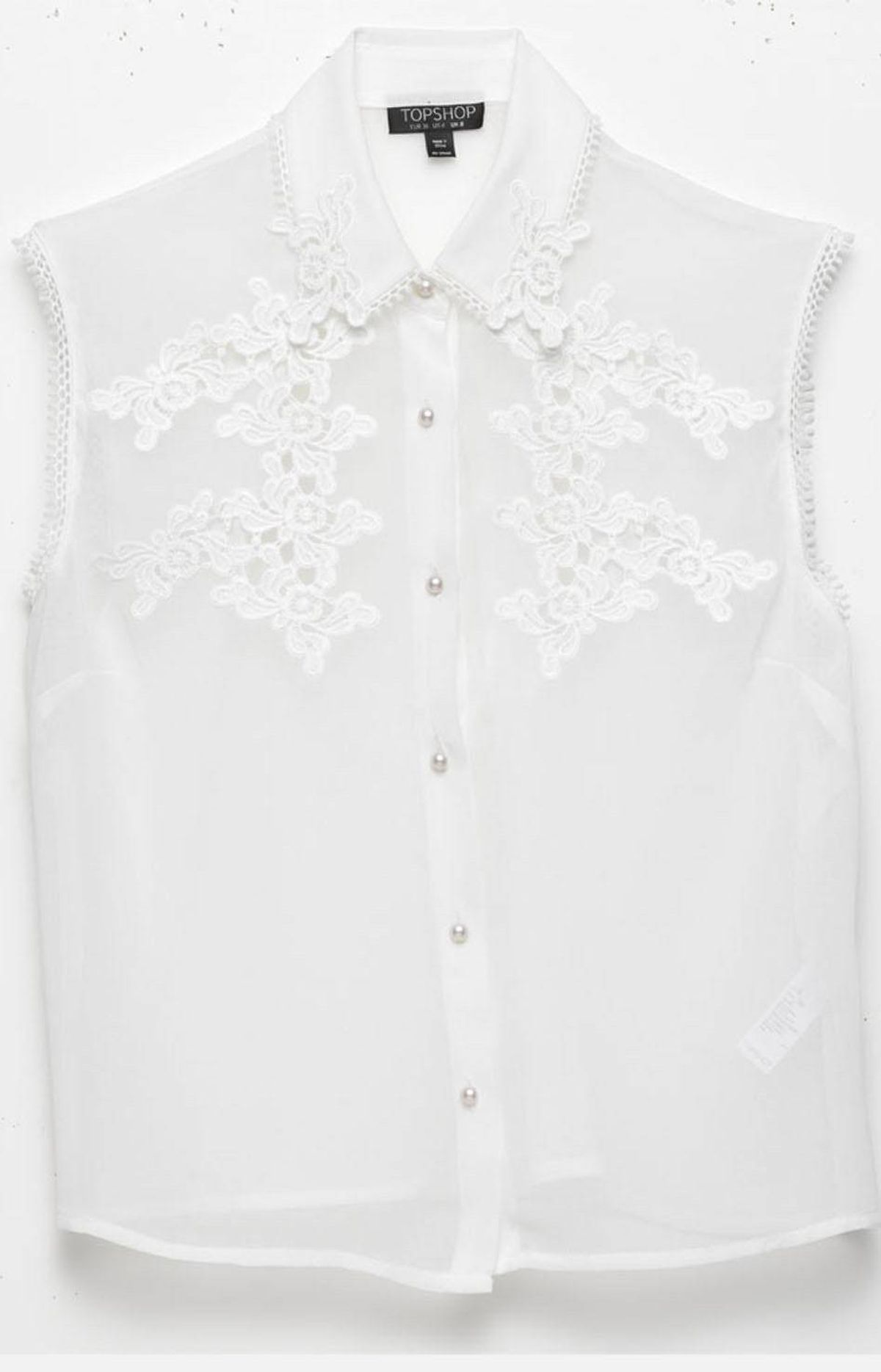 Sleeveless top with lace detailing by Topshop, $60 at The Bay (www.thebay.com).