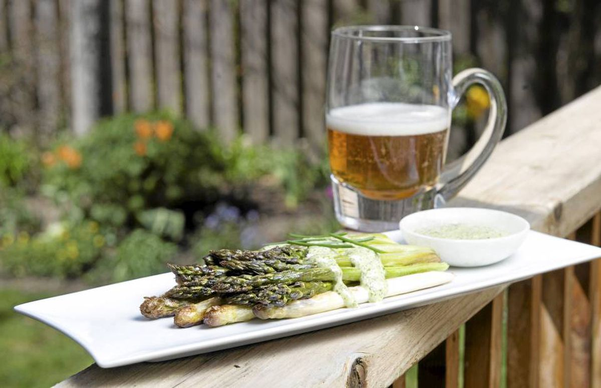 For roasted asparagus, shown with remoulade sauce, opt for a wheat ale flavoured with coriander, such as White Bark from British Columbia's Driftwood Brewery.