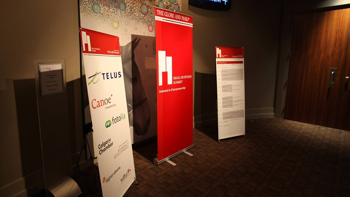 Sponsors on display at the Hotel Arts in Calgary for the Small Business Summit on April 25, 2012.