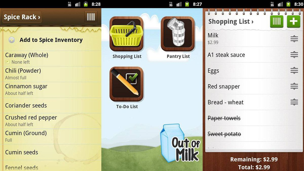 Out of Milk Shopping List Pro ($4.99) Out of Milk is a shopping list, pantry list, and To Do list maker, all in one handy app. When you use Out of Milk, your lists are always in your pocket. Features include multiple shopping and To Do lists, the ability to scan or manually enter items on your lists, and a shopping list history that remembers what you've bought before and how much you paid. (You can copy and paste items from one list to another.) Out of Milk Pro costs $4.99 and includes web storage, backup, and synchronization of your lists, plus a coupon tracker and list sharing (so more than one person can edit your lists). If you don't need these features you can get the basic version of Out of Milk for free.