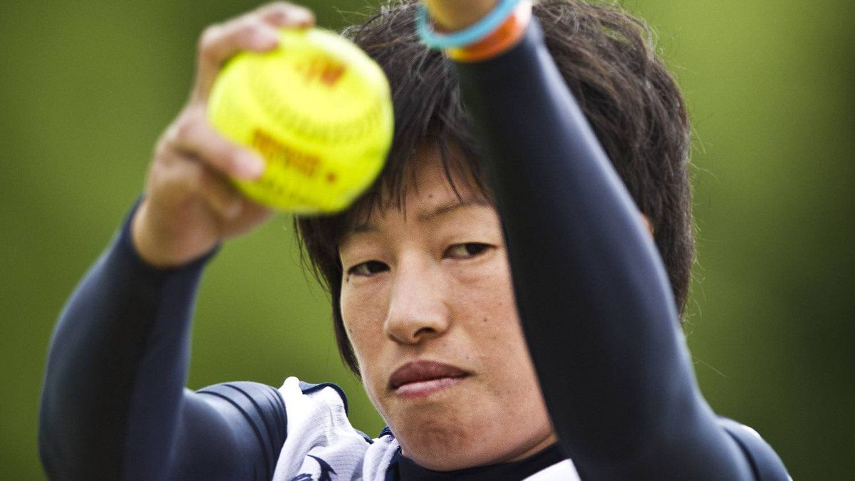 Japanese softball pitcher Yukiko Ueno during team practice in Surrey, B.C. July 14, 2011 she is widely recognized as the fastest pitcher in women's softball. (John Lehmann/The Globe and Mail)
