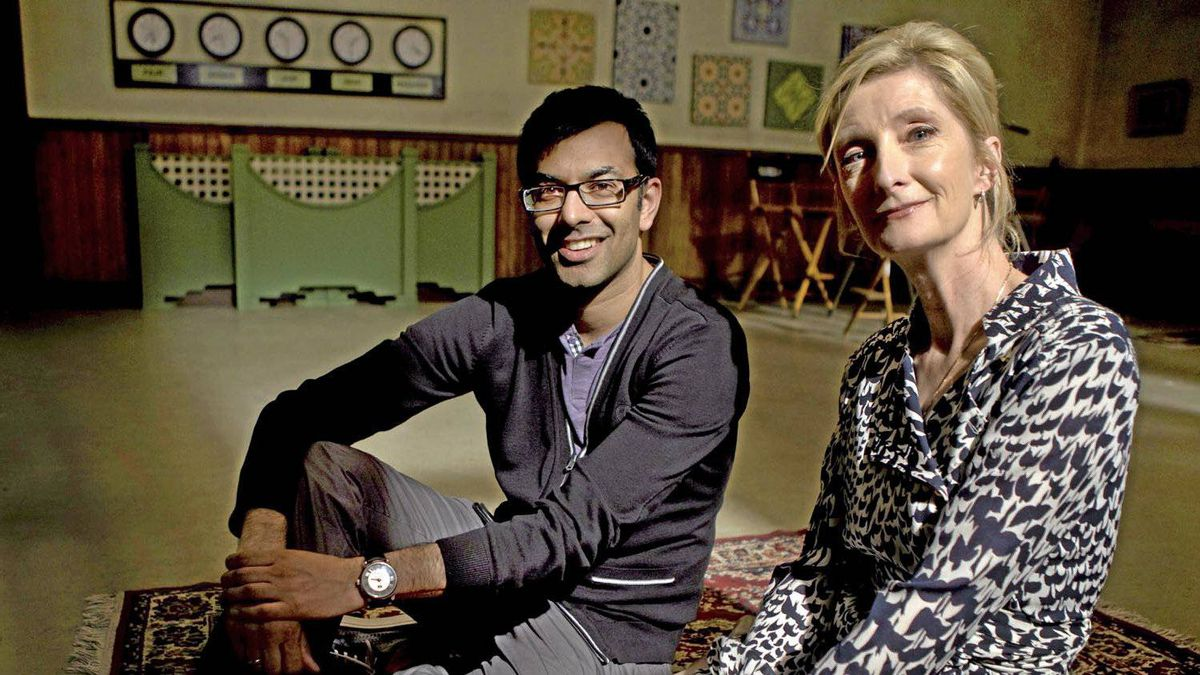 Actors Zaib Shaikh and Shelia McCarthy mark the final season of Little Mosque on the Prairie at Dufferin Gate Studios in Toronto, June 21, 2011.