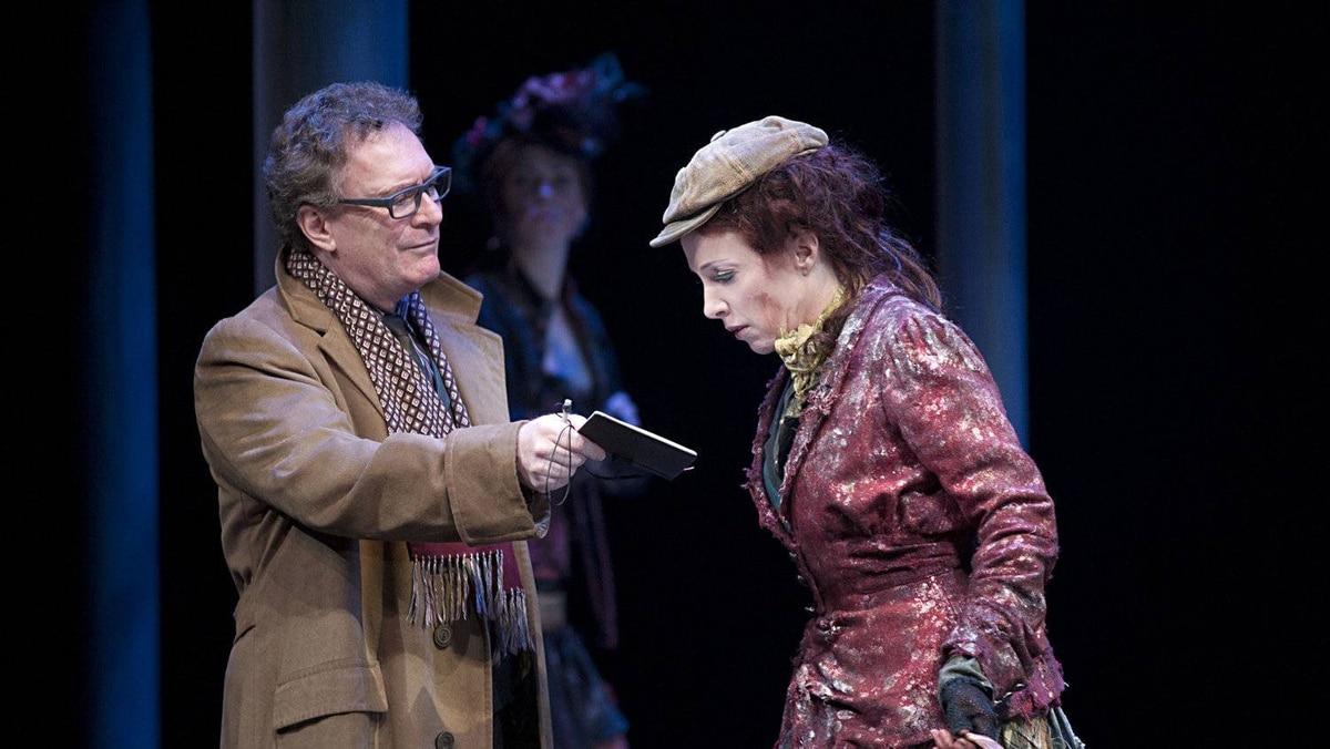 Benedict Campbell as Henry Higgins and Deborah Hay as Eliza Doolittle in My Fair Lady, at the Shaw Festival.