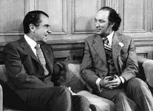 U.S. President Richard Nixon and Prime Minister Pierre Trudeau meet in Ottawa on April 14, 1972.