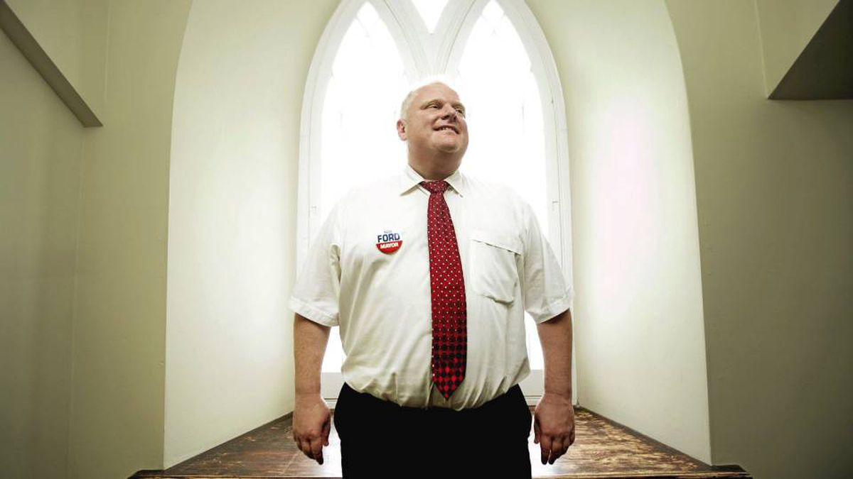 Rob Ford poses after a day of door-to-door canvassing in Scarborough.