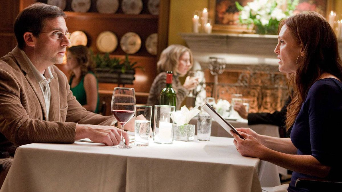 Steve Carell and Julianne Moore are shown in a scene from Warner Bros. film Crazy, Stupid, Love.