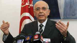 Tunisian Prime Minister Mohammed Ghannouchi delivers a speech during a press conference to announce his resignation on Feb. 27, 2011 in Tunis.