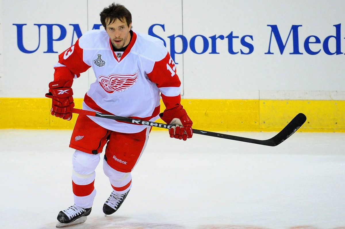Pavel Datsyuk, seen taking the pregame warmup Thursday night in Pittsburgh, will return to the lineup Saturday for the fifth game of the Stanley Cup final.