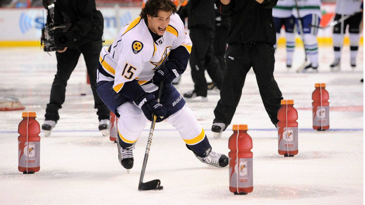 Nashville Predators' Craig Smith takes part in the Skills challenge Relay during the NHL All-Star skills competition in Ottawa on Saturday, January 28, 2012. THE CANADIAN PRESS/Sean Kilpatrick