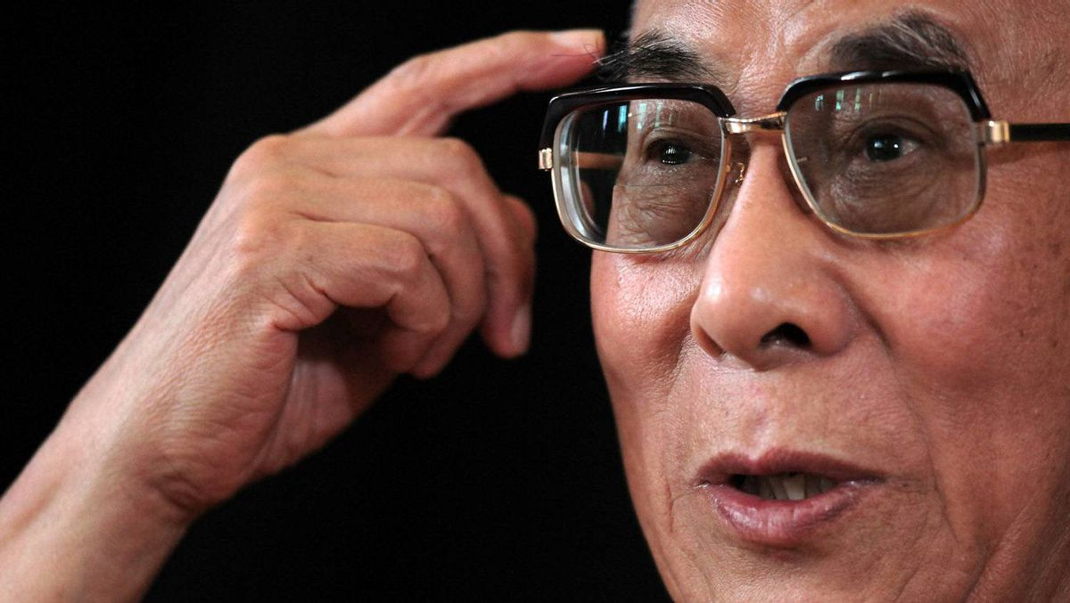 Tibet's exiled spiritual leader the Dalai Lama gestures as he visits the central German city of Frankfurt am Main on August 22, 2011.
