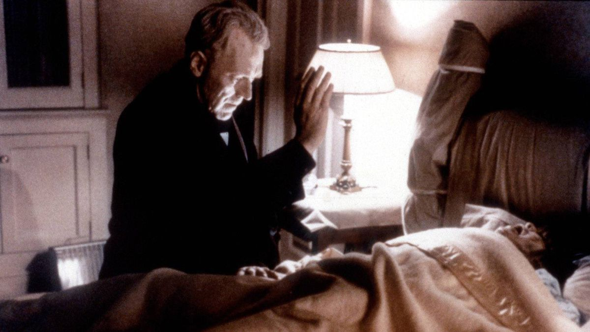 A scene from The Exorcist, with Max Von Sydow and Linda Blair in1973.