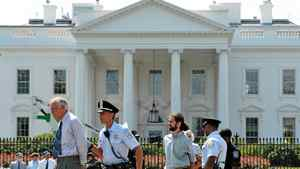 Police arrest protestors who were demonstrating infront of the White House August 24, 2011 in Washington, DC.